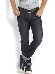 Locomotive Men Dark Blue Slim Straight Fit Jeans