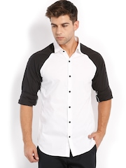 Locomotive Men White Slim Fit Casual Shirt