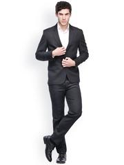 Harvest Men Black Slim Fit Single-Breasted Suit