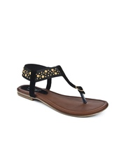 Series by Jove Women Black & Gold-Toned Flats