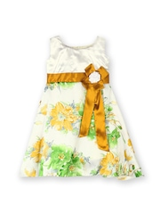 Winakki Kids Girls White & Mustard Yellow Printed A-Line Dress