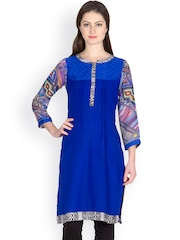 Krishti Women Blue Printed Kurti
