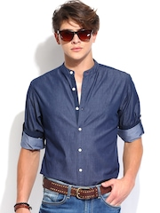 Roadster Men Blue Vettel Slim Fit Casual Shirt