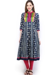 Vishudh Women Navy & White Printed Anarkali Kurta