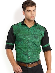 Locomotive Men Green & Black Printed Slim Fit Casual Shirt
