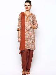 Jaipur Kurti Women Off-White & Rust Brown Printed Salwar Suit with Dupatta