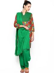 Jaipur Kurti Women Red & Green Floral Printed Salwar Suit with Dupatta