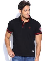 HRX Men Black Polo T-shirt