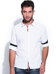 Flying Machine Men White Printed Casual Shirt