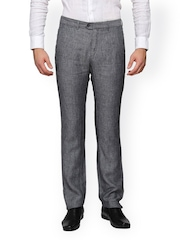 Laven Men Grey Slim Fit Formal Trousers