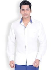 L.A. SEVEN Men White Linen Slim Fit Smart Casual Shirt