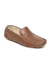 Carlton London Men Tan Brown Leather Loafers