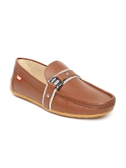 Carlton London Men Tan Brown Leather Loafers