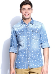 Kook N Keech Men Blue Denim Printed Casual Shirt