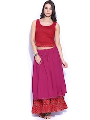 Fabindia Maroon & Pink Top with Maxi Skirt