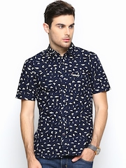 Wrangler Men Navy Printed Casual Shirt