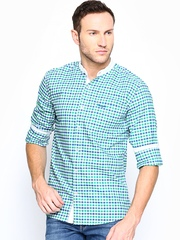 Wrangler Men White & Green Checked Casual Shirt