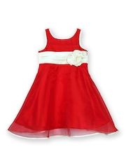 lil posh Girls Red Fit & Flare Dress