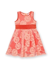 lil posh Girls Peach-Coloured Fit & Flare Dress