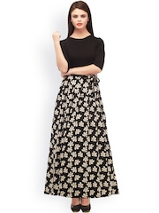 Cottinfab Black & White Floral Print Maxi Dress