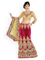 Yellow & Red Net One-Minute Lehenga Saree Chirag Sarees