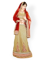 Beige Embroidered Net One Minute Lehenga Saree Chirag Sarees