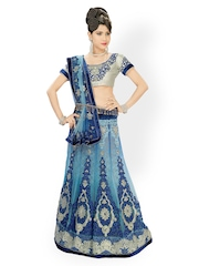 Blue Embroidered Net One Minute Lehenga Saree Chirag Sarees