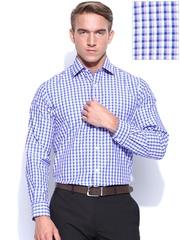 Arrow Men White & Blue Checked Formal Shirt