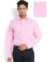 Arrow Men White & Pink Checked Formal Shirt