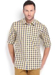 Arrow Sport Men White & Navy Regular Sport Fit Checked Smart Casual Shirt
