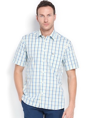Arrow Sport Men White & Blue Checked Regular Sport Fit Smart Casual Shirt