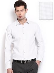Mark Taylor Men White Checked Slim Fit Formal Shirt