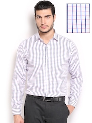 Mark Taylor Men White & Navy Checked Slim Fit Formal Shirt