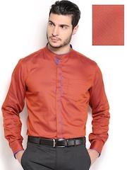 Black Coffee Men Rust Red Slim Fit Formal Shirt