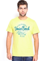 Arrow Sport Men Yellow Printed T-shirt