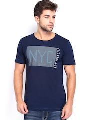 Arrow New York Men Navy Printed T-shirt