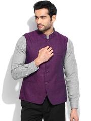 Arrow New York Men Purple Linen Waistcoat