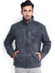 YULE Men Grey Leather Jacket