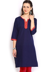 Anouk Women Navy Kurta