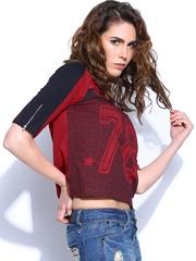 Roadster Women Red & Black Printed Top