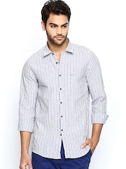 Turtle Men Off-White & Purple Striped Khadi Slim Fit Casual Shirt