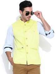Turtle Yellow Slim Fit Linen Nehru Jacket