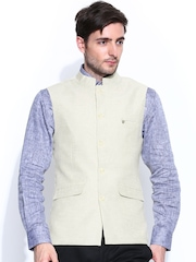 Turtle Men Cream-Coloured Slim Fit Linen Nehru Jacket