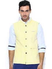 Turtle Yellow Slim Fit Khadi Nehru Jacket