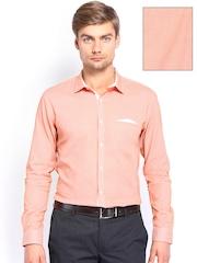 Independence Men White & Orange Checked Slim Fit Formal Shirt
