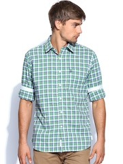 U.S. Polo Assn. Men Green & Blue Checked Tailored Fit Casual Shirt