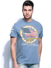 U.S. Polo Assn. Men Blue Printed T-shirt