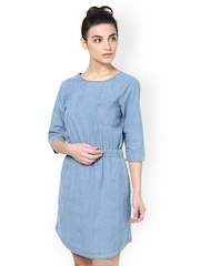 Atorse Women Blue Fit & Flare Dress