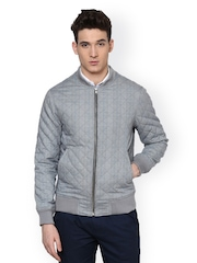 Atorse Men Grey Checked Quilted Slim Fit Jacket