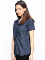 Xpose Navy Denim Slim Fit Casual Shirt